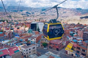 One of 3 cable car lines in La Paz, Bolivia. Opened in 2015.
