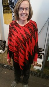Ikat-dye weave, turned into woman's poncho. Traditional design, from Gualaceo (near Cuenca)